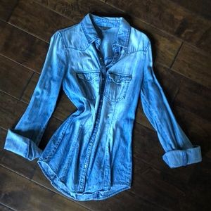 Rubbish Nordstrom Chambray Button Down Top Sz S